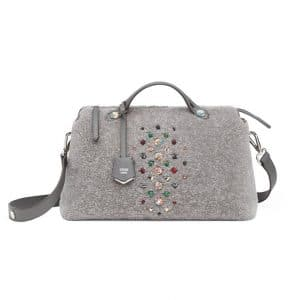 Fendi Gray Shearling with Embellishments By The Way Bag