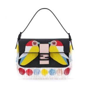 Fendi Multicolor Denim with Bird Print and Fringe Baguette Bag