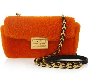 Fendi Orange Shearling Be Baguette Mini Bag