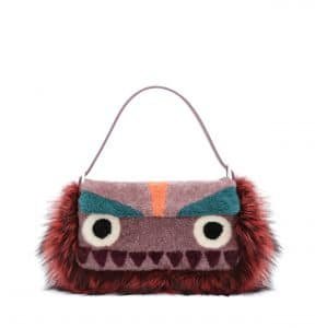 Fendi Purple/Multicolor Shearling:Fur Monster Baguette Bag