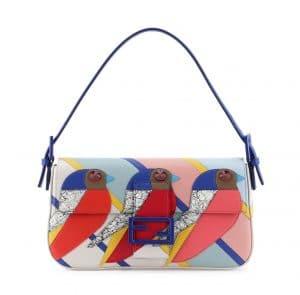 Fendi Red/Blue/Pink Geometric Bird Baguette Bag