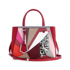 Fendi Red/Pink Marquery Geometric 2Jours Mini Bag