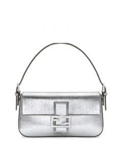 Fendi Silver Metallic Baguette Bag