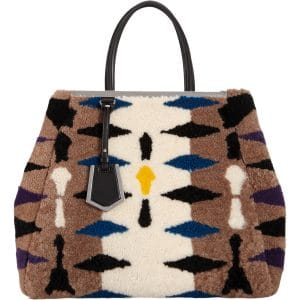 Fendi Taupe/Black Shearling 2Jours Bag