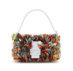 Fendi White Multicolor Embellished Baguette Bag