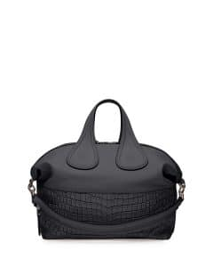 Givenchy Black Croc-Stamped Nightingale Satchel Medium Bag - Cruise 2015