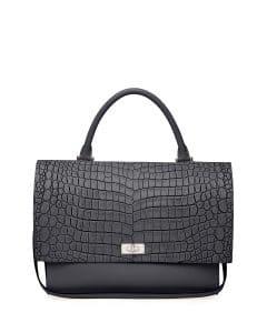 Givenchy Black Croc-Stamped Shark-Lock Satchel Medium Bag - Cruise 2015
