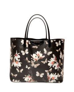 Givenchy Black Multicolor Magnolia Print Antigona Tote Bag - Cruise 2015