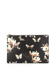 Givenchy Black Multicolor Magnolia Print Flat Zip Pouch Bag - Cruise 2015
