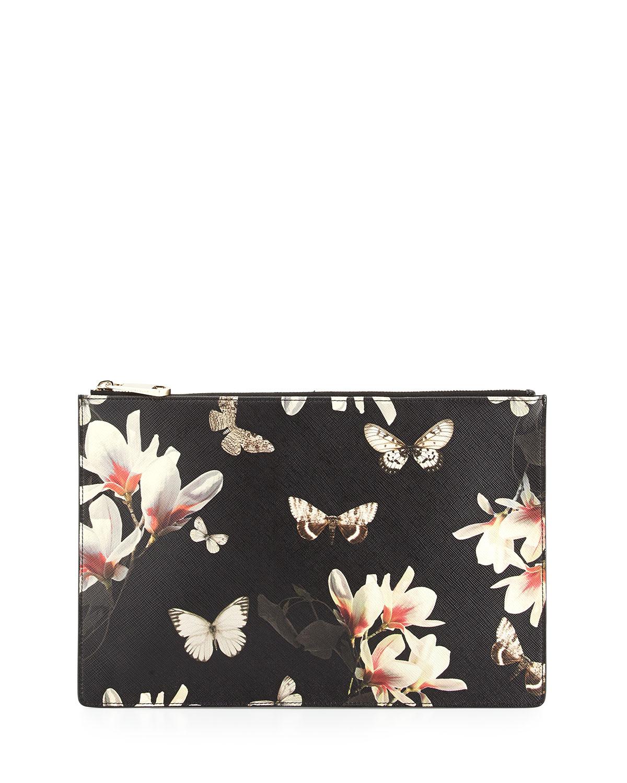 37da15f755a Givenchy Black Multicolor Magnolia Print Flat Zip Pouch Bag - Cruise 2015