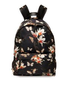 Givenchy Black Multicolor Magnolia Print Nylon Backpack Bag - Cruise 2015