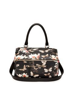 Givenchy Black Multicolor Magnolia Print Pandora Medium Bag - Cruise 2015