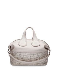 Givenchy Off White Croc-Stamped Nightingale Satchel Medium Bag - Cruise 2015