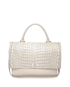 Givenchy Off White Croc-Stamped Shark-Lock Satchel Medium Bag - Cruise 2015