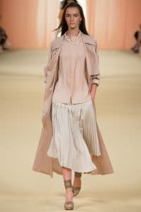 Hermes Beige Top and Pleated Skirt - Spring 2015