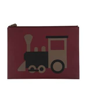 Moynat x Pharrell Williams Burgundy/Brown Train Pouch Large Bag
