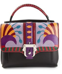 Paula Cademartori Black Multicolor with Lizard Detail Petite Faye Bag
