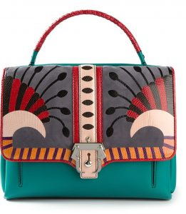 Paula Cademartori Blue Green Multicolor with Lizard Detail Faye Bag
