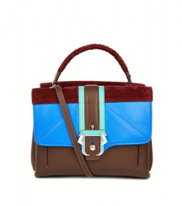 Paula Cademartori Brown/Blue/Burgundy Striped Leather/Suede Petite Faye Bag