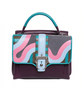 Paula Cademartori Purple Multicolor Leather/Suede Petite Faye Bag