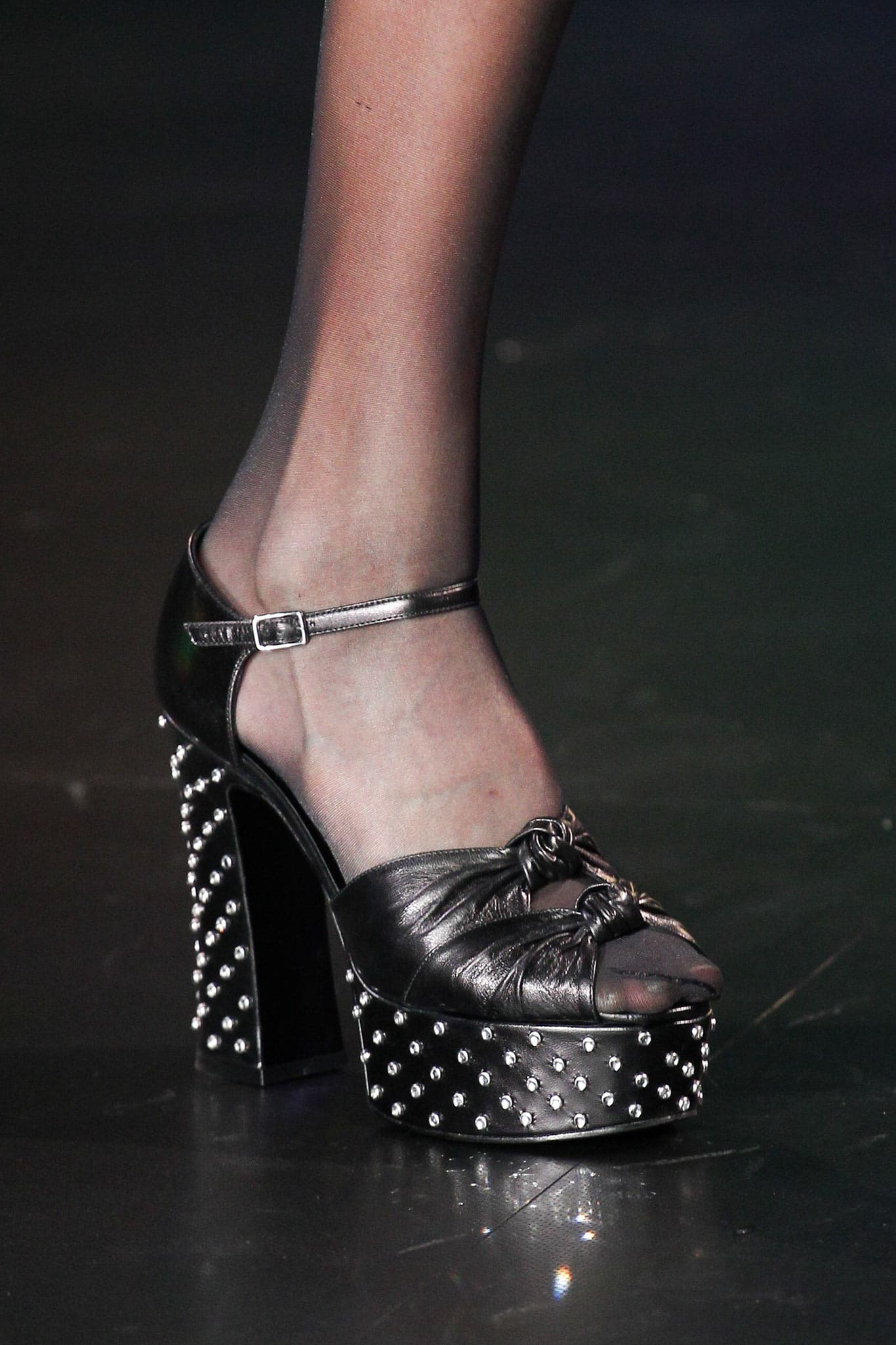Saint Laurent Black Studded Platform Sandals - Spring 2015 f9caff1ef7b48