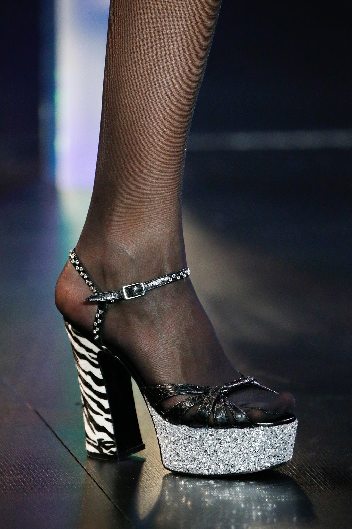11efa170b75 Saint Laurent Black Zebra Print Platform Sandals - Spring 2015