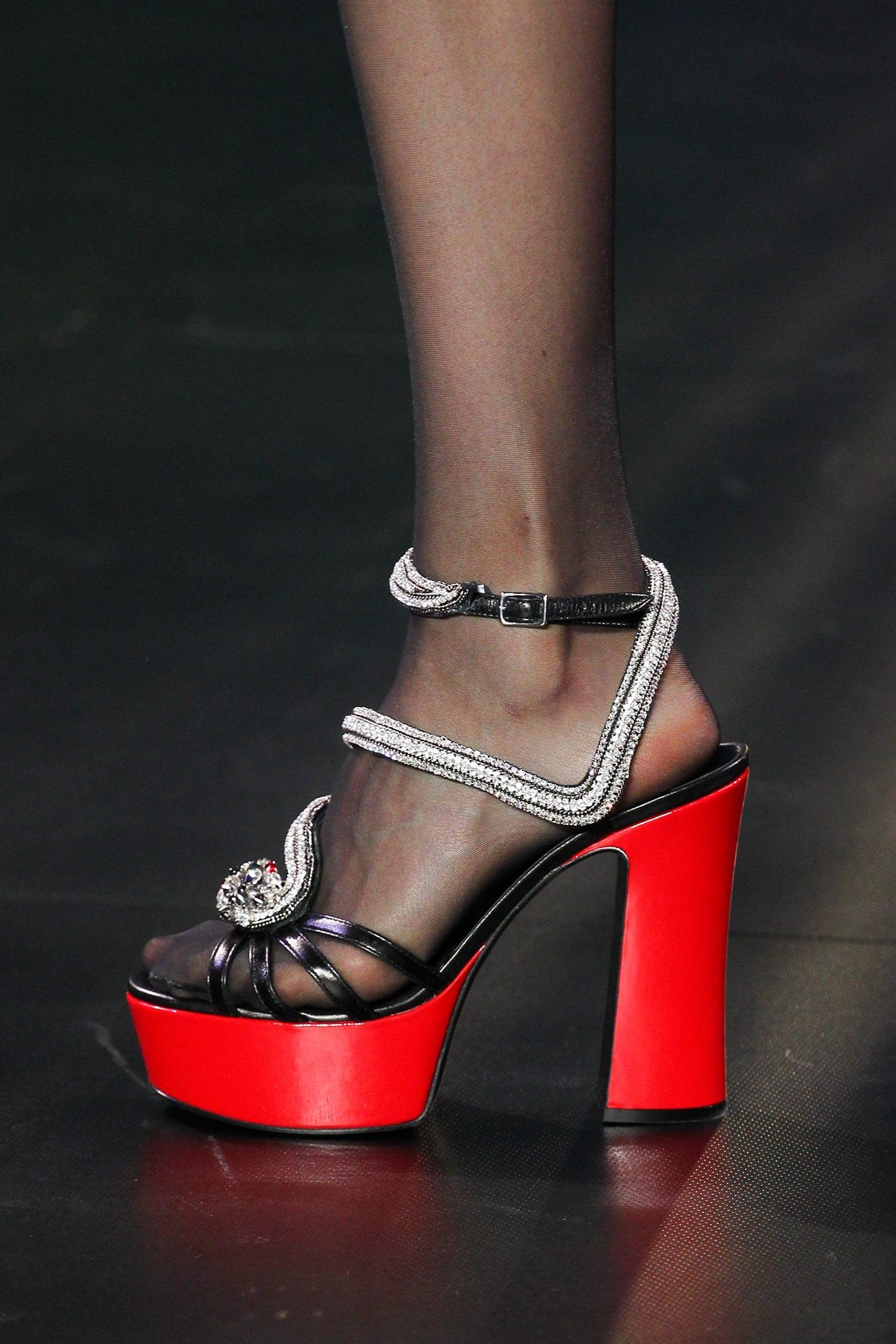 6b706a45b07 Saint Laurent Black Red Embellished Platform Sandals - Spring 2015