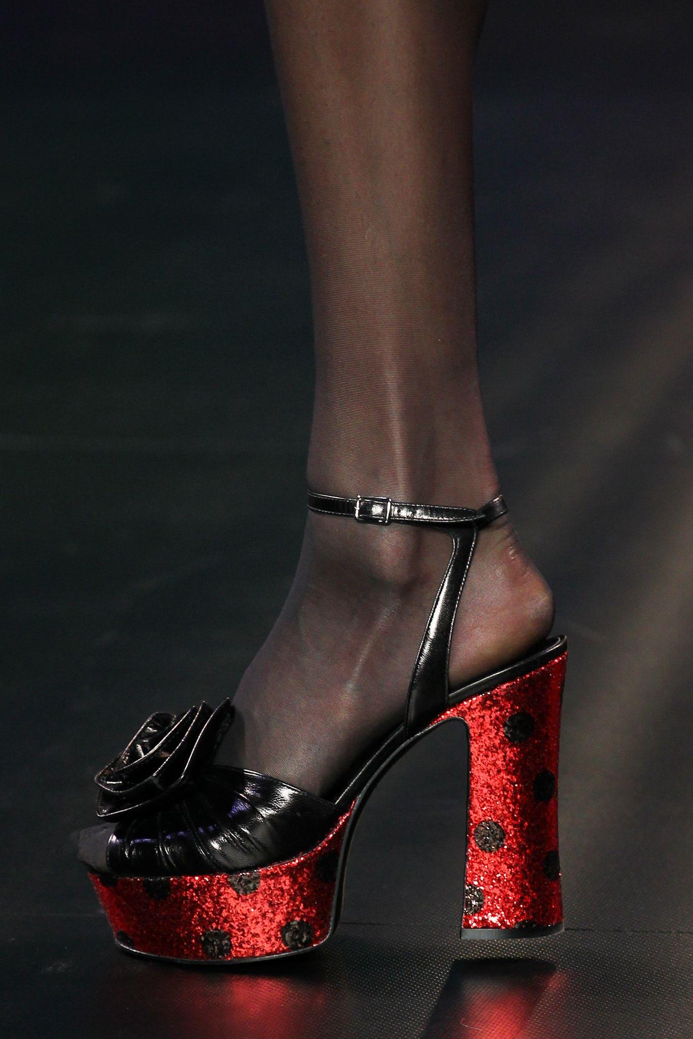 e87cd283025 Saint Laurent Black Red Glittery Platform Sandals - Spring 2015