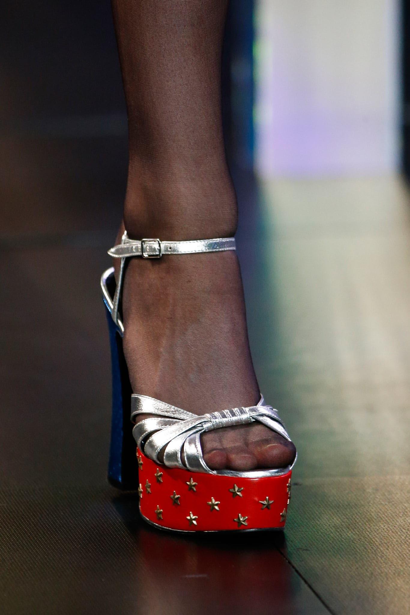5b61333ff17 Saint Laurent Silver Blue Red Platform Sandals - Spring 2015