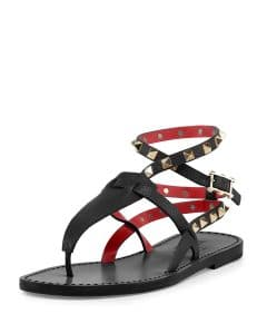 Valentino Black/Red Rockstud Ankle-Wrap Thong Sandal - Cruise 2015