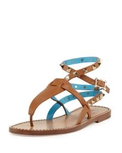 Valentino Cuir/Parrot Rockstud Ankle-Wrap Thong Sandal - Cruise 2015