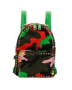 Valentino Multicolor Psychedelic Camo Nylon Backpack Bag - Cruise 2015