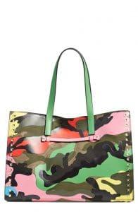 Valentino Multicolor Psychedelic Rockstud Camo Tote Bag - Cruise 2015