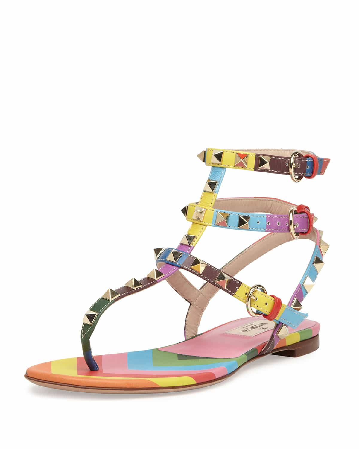 Valentino sandals shoes price - Valentino Multicolor Rockstud 1973 Thong Sandal Cruise 2015