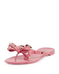Valentino Pink Rockstud PVC Thong Sandal - Cruise 2015