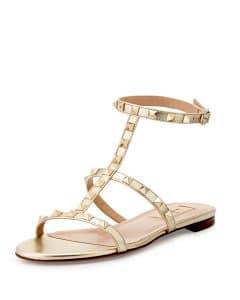 Valentino Platino Rockstud Ankle-Strap Flat Sandal - Cruise 2015