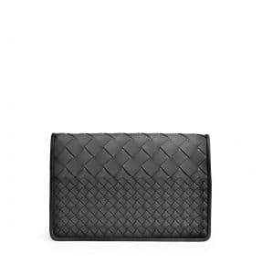 Bottega Veneta Black Intrecciato Woven Clutch Bag - Cruise 2015