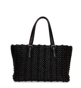 Bottega Veneta Black Lido Woven Tote Bag - Cruise 2015