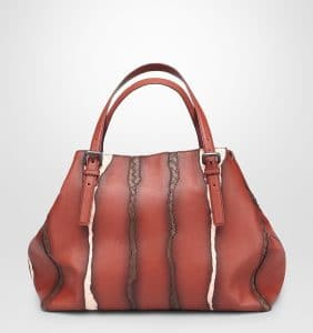 Bottega Veneta Burnt Red Washed Nappa Intreciatto Glimmer Tote Bag - Cruise 2015