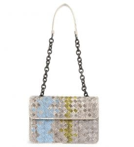 Bottega Veneta Mist Multicolor Woven Snake Shoulder Bag - Cruise 2015