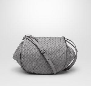 Bottega Veneta New Light Grey Intrecciato Nappa Flap Messenger Bag - Cruise 2015