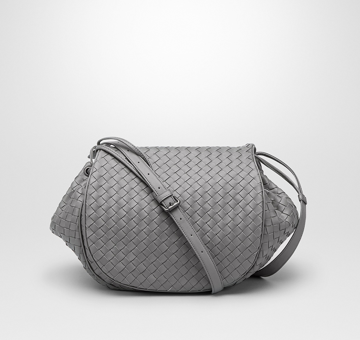 8e73df2f3c Bottega Veneta New Light Grey Intrecciato Nappa Flap Messenger Bag - Cruise  2015