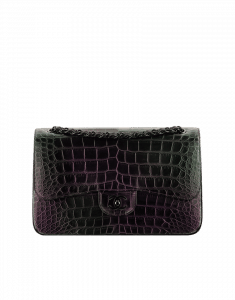 Chanel Black Alligator Flap Bag with Purple Irridiscent - Cruise 2015