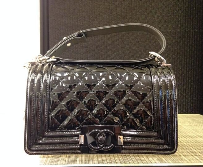 f6b233a11245 Chanel Patent Boy Bag from Cruise 2015 features Plexiglass Closure ...