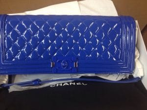 Chanel Blue Patent Boy Flap Crossbody Bag - Cruise 2015