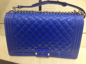 Chanel Blue Patent Boy Flap New Medium Bag - Cruise 2015