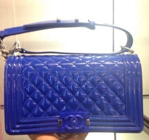 Chanel Blue Patent Boy Flap Old Medium Bag - Cruise 2015