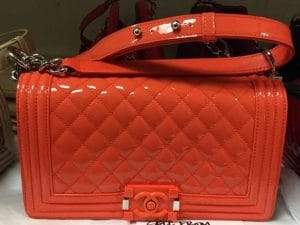 Chanel Orange Patent Boy Flap Old Medium Bag - Cruise 2015