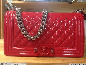 Chanel Red Patent Boy Flap Old Medium Bag - Cruise 2015