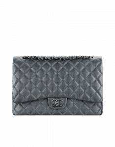 Chanel Silver Grey Maxi Flap Bag - Cruise 2015